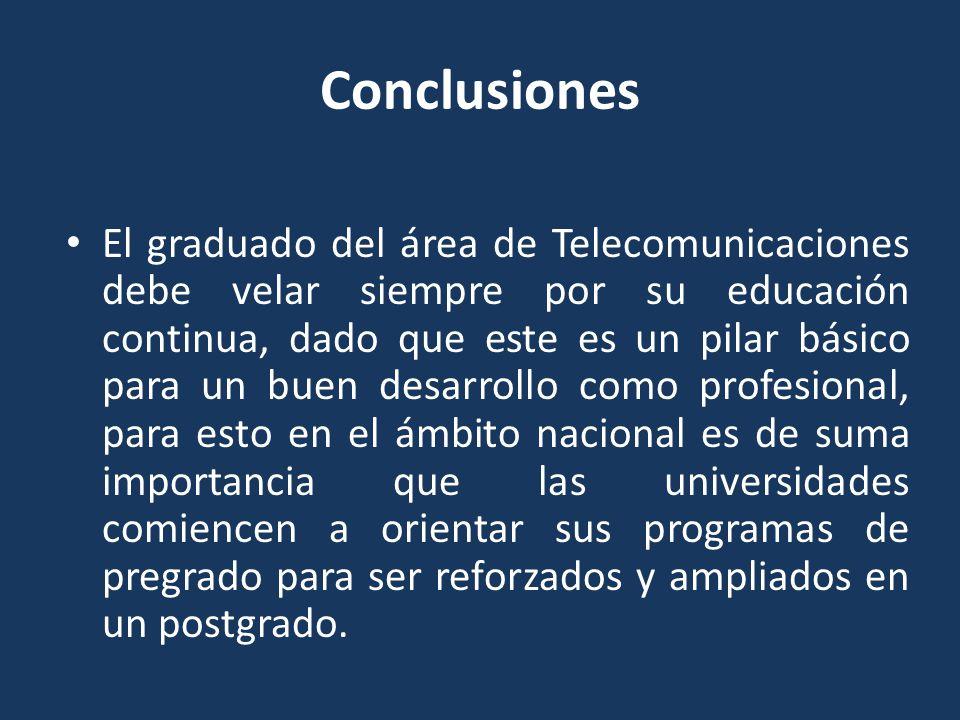 Conclusiones El graduado del área de Telecomunicaciones debe velar siempre por su educación continua, dado que este es un pilar básico para un buen de