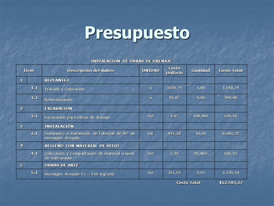 Presupuesto INSTALACION DE OBRAS DE DRENAJE Ítem Descripción del Rubro UNIDAD Costo Unitario Cantidad Costo Total 1 REPLANTEO 1.1 Trazado y Colocación