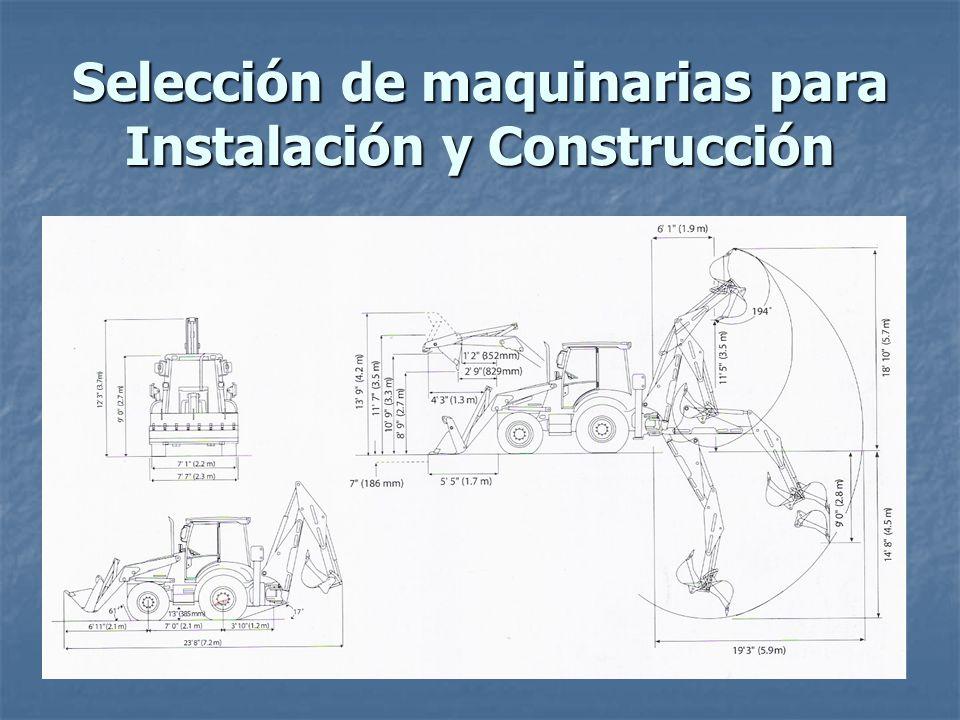 Selección de maquinarias para Instalación y Construcción Retroexcavadora Retroexcavadora