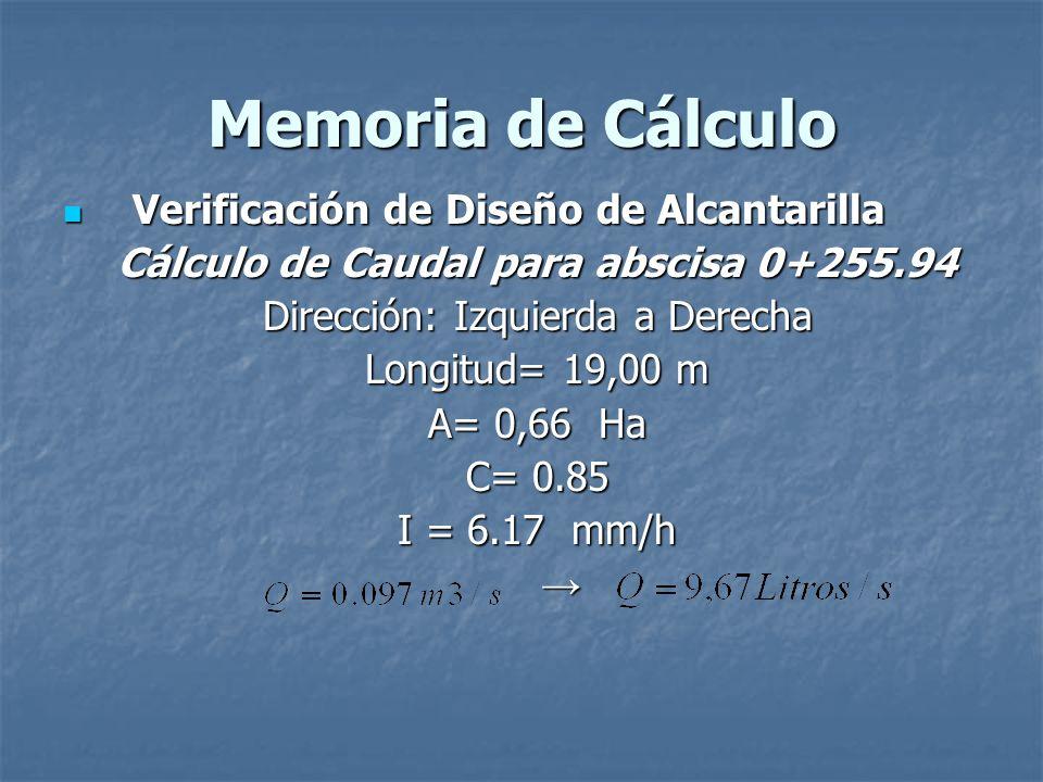 Memoria de Cálculo Verificación de Diseño de Alcantarilla Verificación de Diseño de Alcantarilla Cálculo de Caudal para abscisa 0+255.94 Dirección: Iz