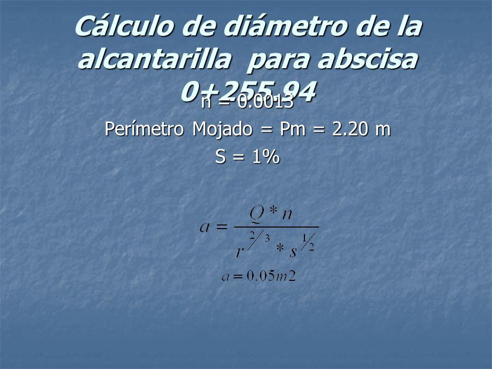 Cálculo de diámetro de la alcantarilla para abscisa 0+255.94 n = 0.0013 Perímetro Mojado = Pm = 2.20 m S = 1%