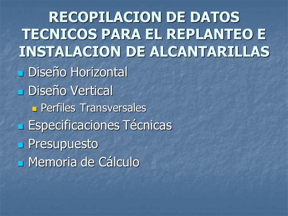 RECOPILACION DE DATOS TECNICOS PARA EL REPLANTEO E INSTALACION DE ALCANTARILLAS Diseño Horizontal Diseño Horizontal Diseño Vertical Diseño Vertical Pe
