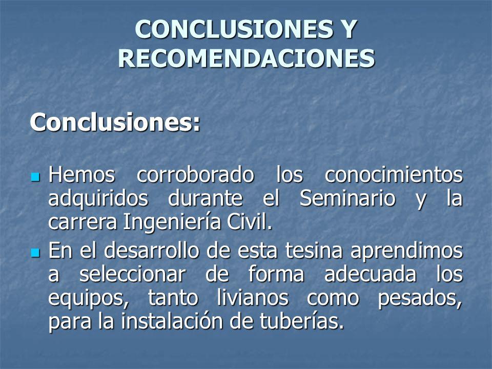 CONCLUSIONES Y RECOMENDACIONES Conclusiones: Hemos corroborado los conocimientos adquiridos durante el Seminario y la carrera Ingeniería Civil. Hemos