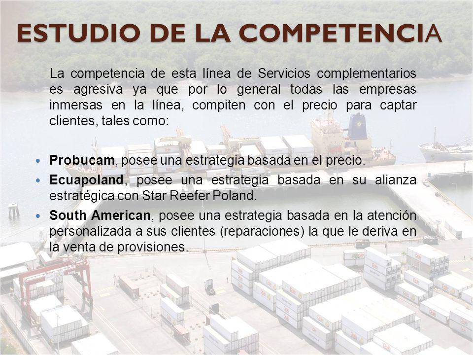 ESTUDIO DE LA COMPETENCIA La competencia de esta línea de Servicios complementarios es agresiva ya que por lo general todas las empresas inmersas en l