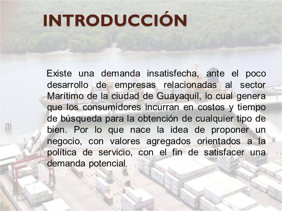 INTRODUCCIÓN Existe una demanda insatisfecha, ante el poco desarrollo de empresas relacionadas al sector Marítimo de la ciudad de Guayaquil, lo cual g