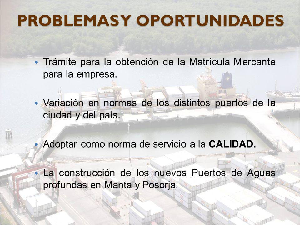 PROBLEMAS Y OPORTUNIDADES Trámite para la obtención de la Matrícula Mercante para la empresa. Variación en normas de los distintos puertos de la ciuda