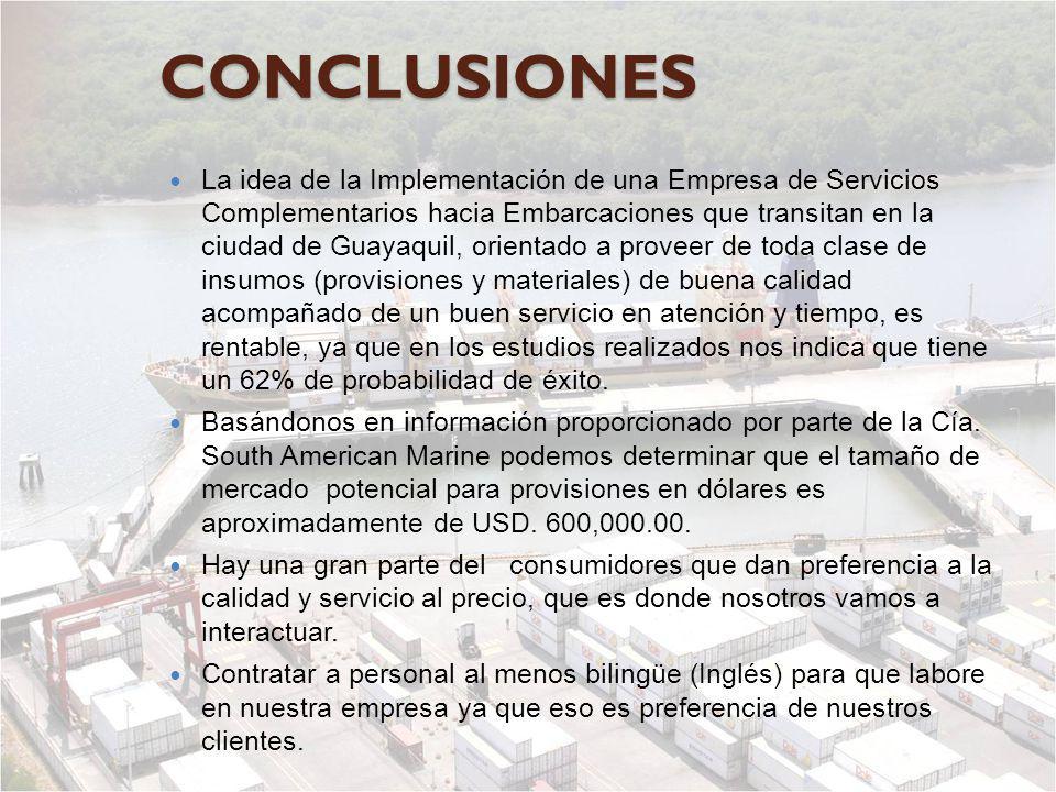 CONCLUSIONES La idea de la Implementación de una Empresa de Servicios Complementarios hacia Embarcaciones que transitan en la ciudad de Guayaquil, ori