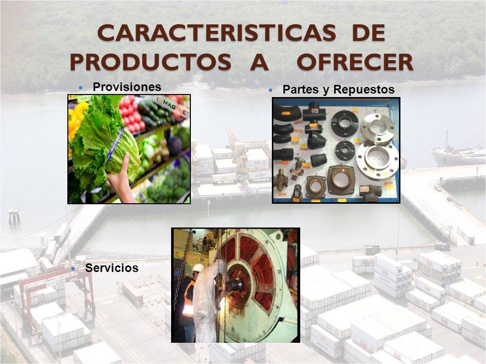 CARACTERISTICAS DE PRODUCTOS A OFRECER Provisiones Partes y Repuestos Servicios