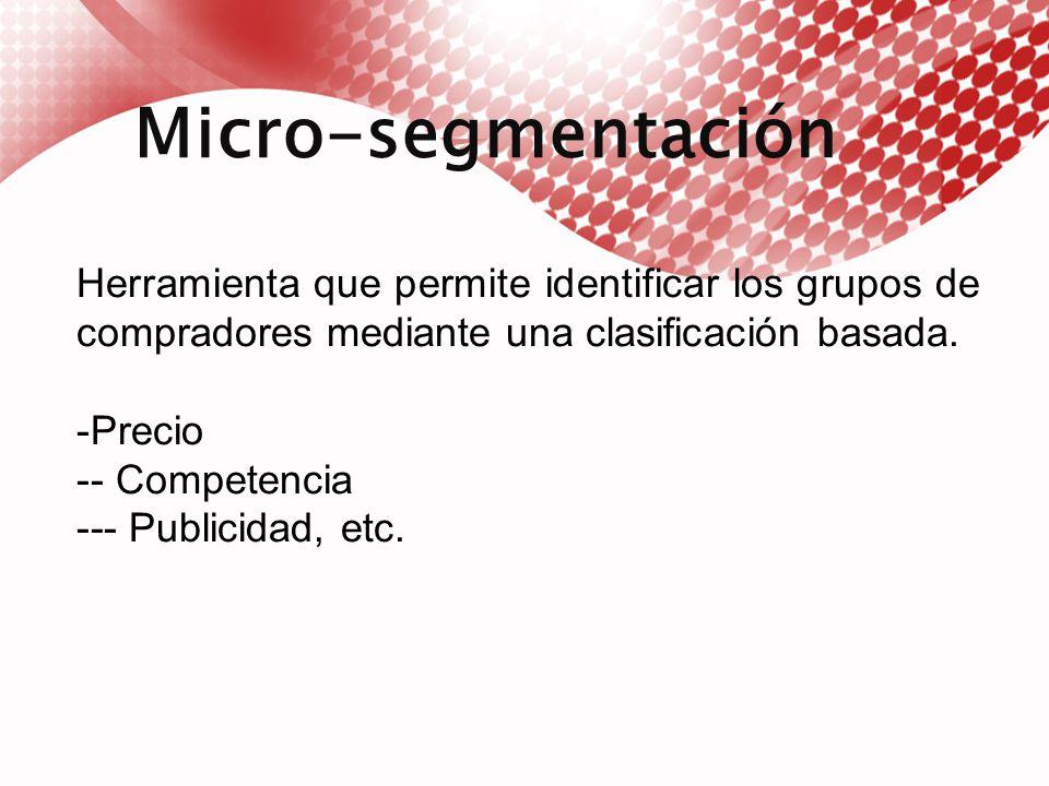 Macro-segmentación El análisis de macro-segmentación permite tomar un mercado referencial desde el punto de venta de consumidor considerando tres dimensiones para definir un mercado, funciones o necesidades, grupo de compradores (quien) tecnología (como).