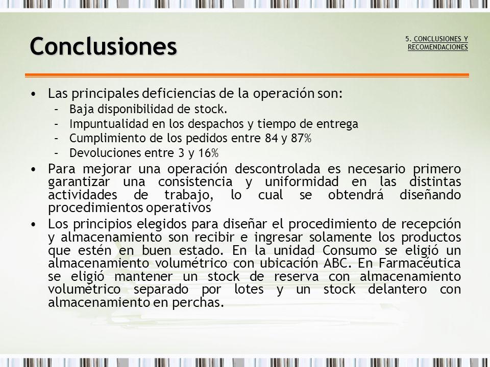 Las principales deficiencias de la operación son: –Baja disponibilidad de stock. –Impuntualidad en los despachos y tiempo de entrega –Cumplimiento de