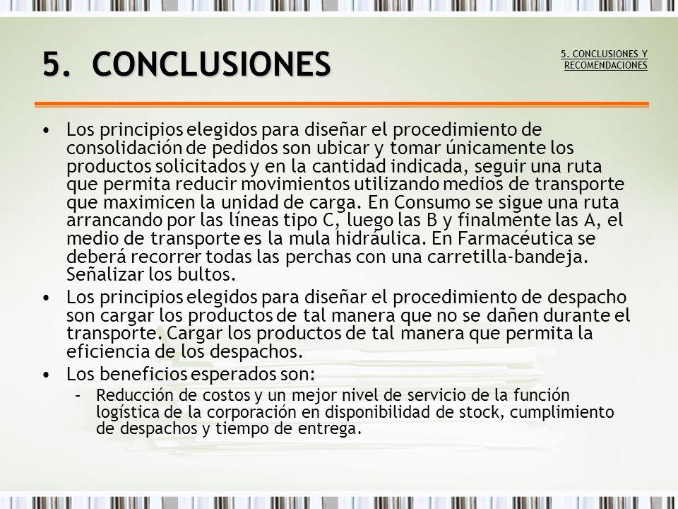 Los principios elegidos para diseñar el procedimiento de consolidación de pedidos son ubicar y tomar únicamente los productos solicitados y en la cant