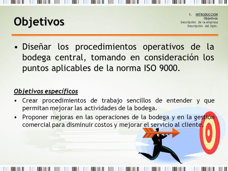 Objetivos 1.INTRODUCCION Objetivos Descripción de la empresa Descripción del Dpto. Diseñar los procedimientos operativos de la bodega central, tomando