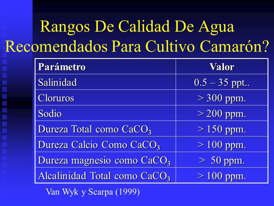 Rangos De Calidad De Agua Recomendados Para Cultivo Camarón? ParámetroValor Salinidad 0.5 – 35 ppt.. Cloruros > 300 ppm. Sodio > 200 ppm. Dureza Total