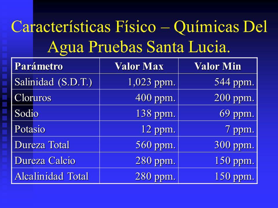 Características Físico – Químicas Del Agua Pruebas Santa Lucia. Parámetro Valor Max Valor Min Salinidad (S.D.T.) 1,023 ppm. 544 ppm. Cloruros 400 ppm.
