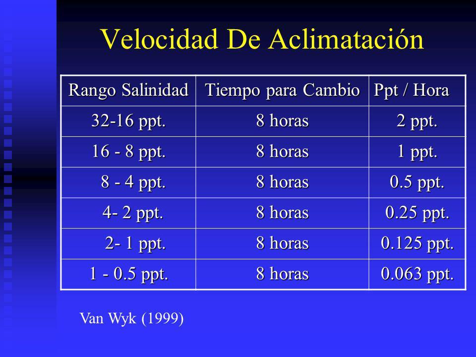 Velocidad De Aclimatación Rango Salinidad Tiempo para Cambio Ppt / Hora 32-16 ppt. 8 horas 2 ppt. 16 - 8 ppt. 8 horas 1 ppt. 8 - 4 ppt. 8 - 4 ppt. 8 h