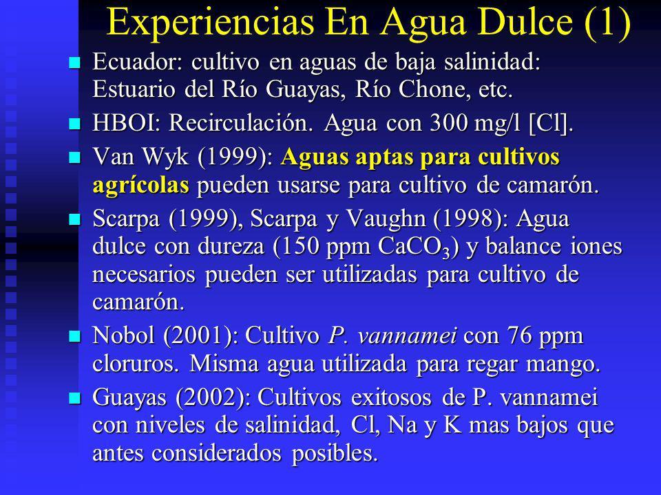 Experiencias En Agua Dulce (1) Ecuador: cultivo en aguas de baja salinidad: Estuario del Río Guayas, Río Chone, etc. Ecuador: cultivo en aguas de baja