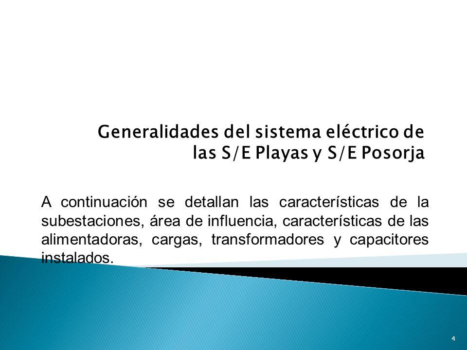 Generalidades del sistema eléctrico de las S/E Playas y S/E Posorja A continuación se detallan las características de la subestaciones, área de influencia, características de las alimentadoras, cargas, transformadores y capacitores instalados.