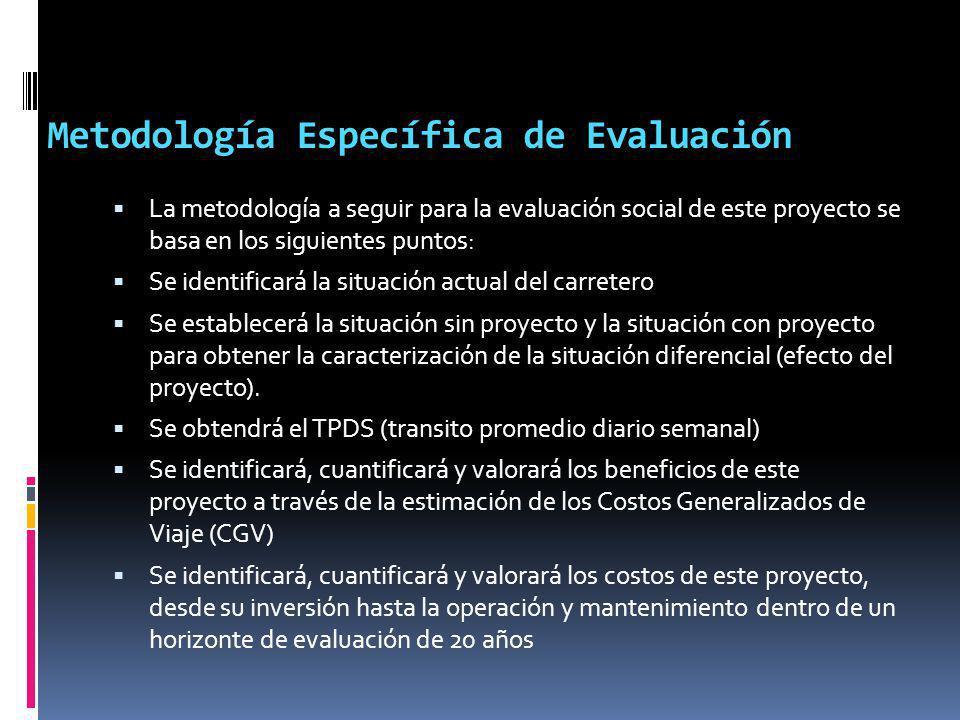 Metodología Específica de Evaluación La metodología a seguir para la evaluación social de este proyecto se basa en los siguientes puntos: Se identific