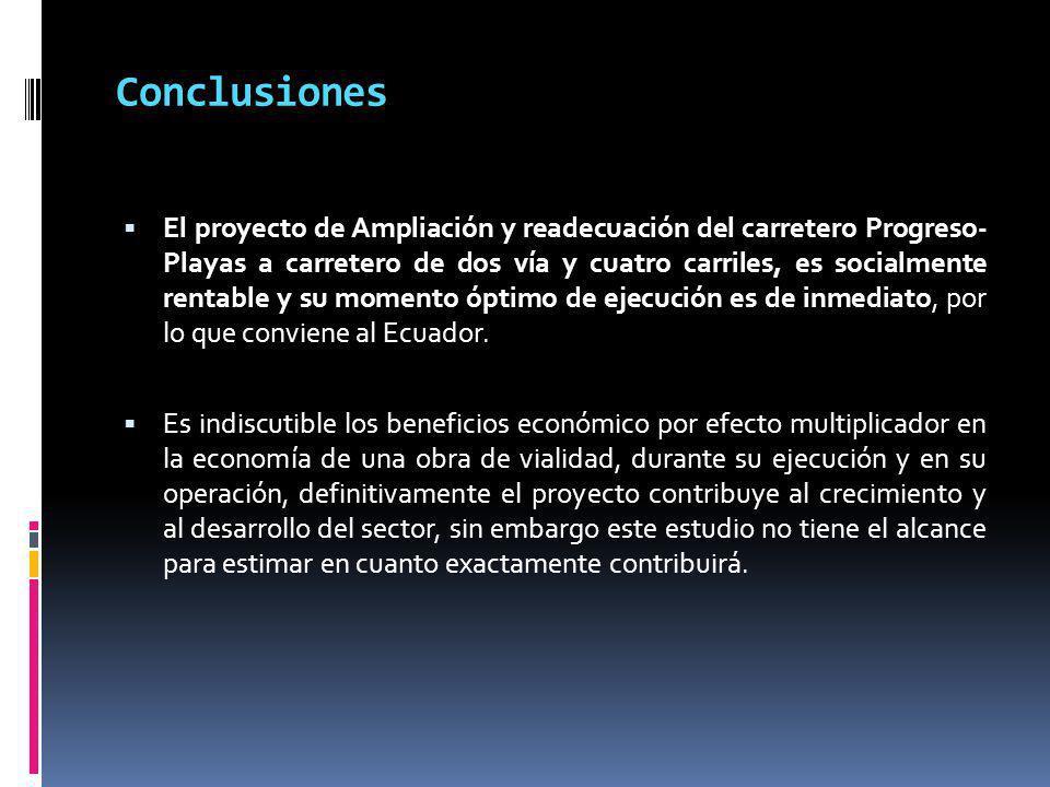 Conclusiones El proyecto de Ampliación y readecuación del carretero Progreso- Playas a carretero de dos vía y cuatro carriles, es socialmente rentable