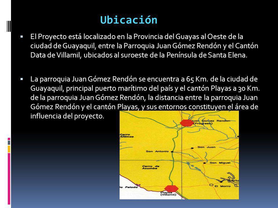 El Proyecto está localizado en la Provincia del Guayas al Oeste de la ciudad de Guayaquil, entre la Parroquia Juan Gómez Rendón y el Cantón Data de Vi