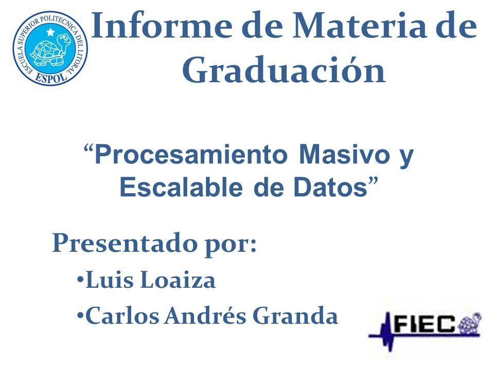 Presentado por: Luis Loaiza Carlos Andrés Granda Informe de Materia de Graduación Procesamiento Masivo y Escalable de Datos