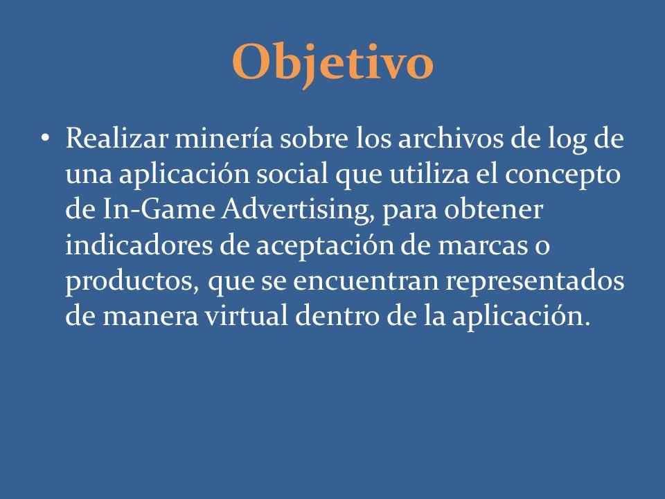 Objetivo Realizar minería sobre los archivos de log de una aplicación social que utiliza el concepto de In-Game Advertising, para obtener indicadores
