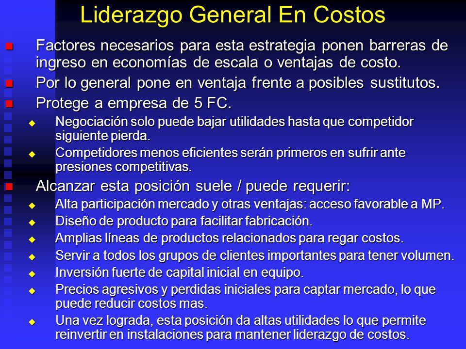Liderazgo General En Costos Factores necesarios para esta estrategia ponen barreras de ingreso en economías de escala o ventajas de costo.