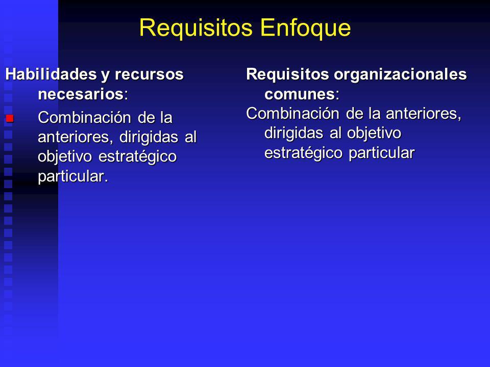 Requisitos Enfoque Habilidades y recursos necesarios: Combinación de la anteriores, dirigidas al objetivo estratégico particular.