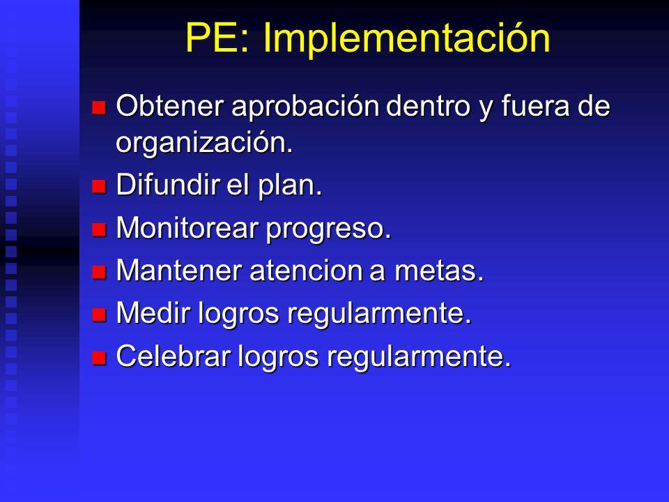 PE: Implementación Obtener aprobación dentro y fuera de organización.