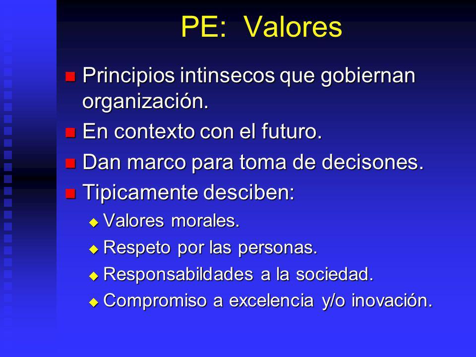 PE: Valores Principios intinsecos que gobiernan organización.