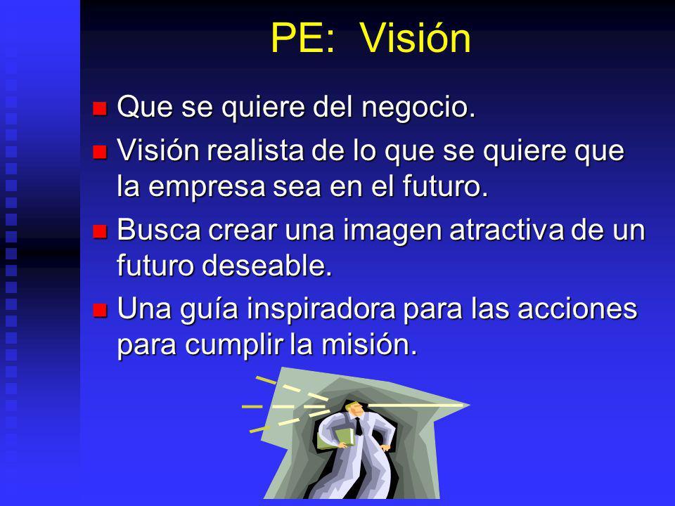 PE: Visión Que se quiere del negocio.Que se quiere del negocio.