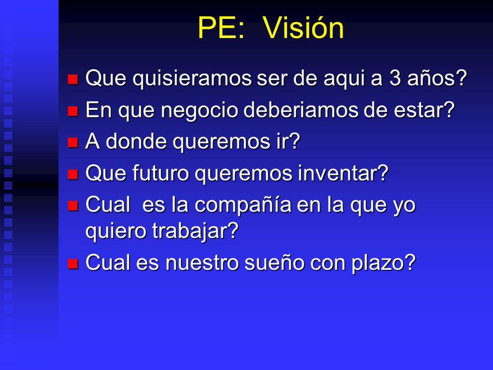 PE: Visión Que quisieramos ser de aqui a 3 años.Que quisieramos ser de aqui a 3 años.