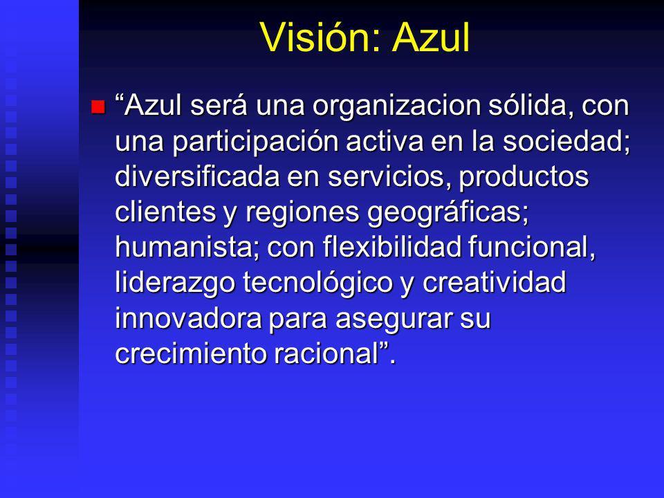 Visión: Azul Azul será una organizacion sólida, con una participación activa en la sociedad; diversificada en servicios, productos clientes y regiones geográficas; humanista; con flexibilidad funcional, liderazgo tecnológico y creatividad innovadora para asegurar su crecimiento racional.