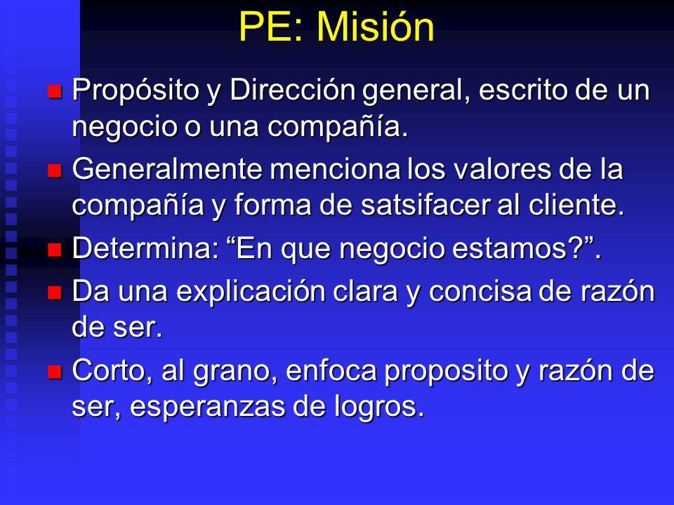 PE: Misión Propósito y Dirección general, escrito de un negocio o una compañía.