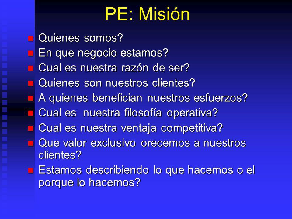 PE: Misión Quienes somos.Quienes somos. En que negocio estamos.