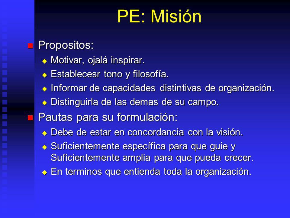 PE: Misión Propositos: Propositos: Motivar, ojalá inspirar.