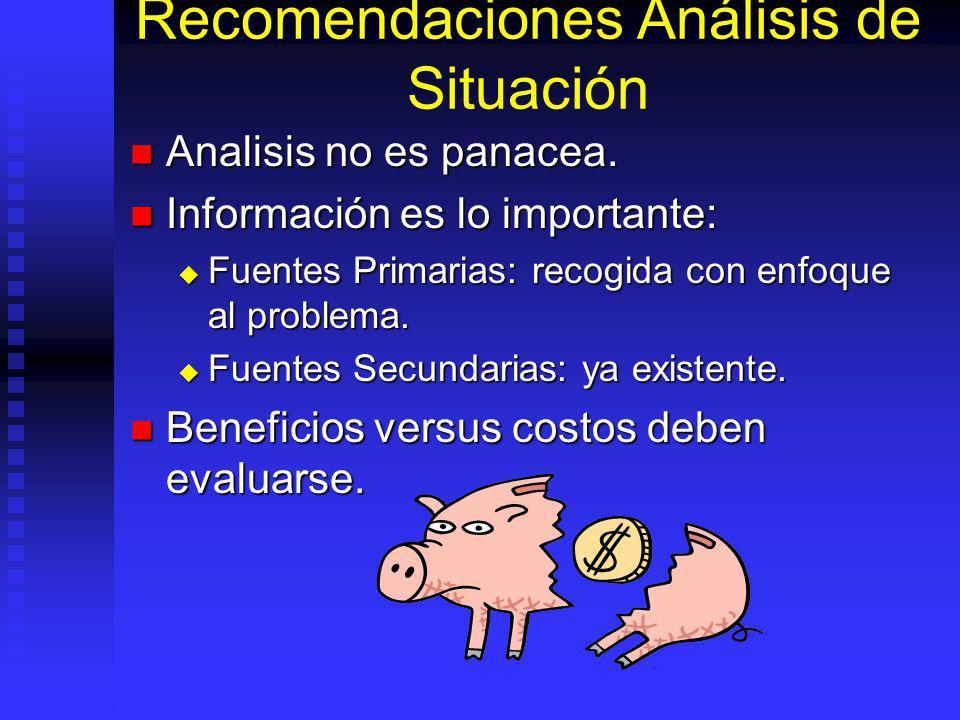 Recomendaciones Análisis de Situación Analisis no es panacea.