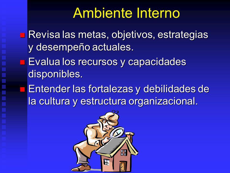 Ambiente Interno Revisa las metas, objetivos, estrategias y desempeño actuales.