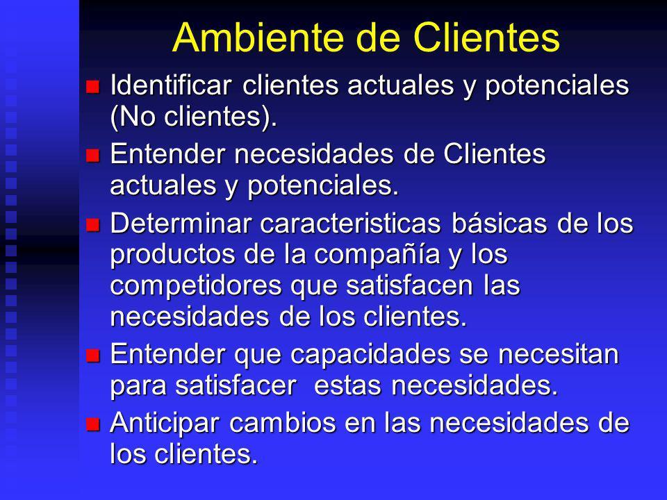 Ambiente de Clientes Identificar clientes actuales y potenciales (No clientes).