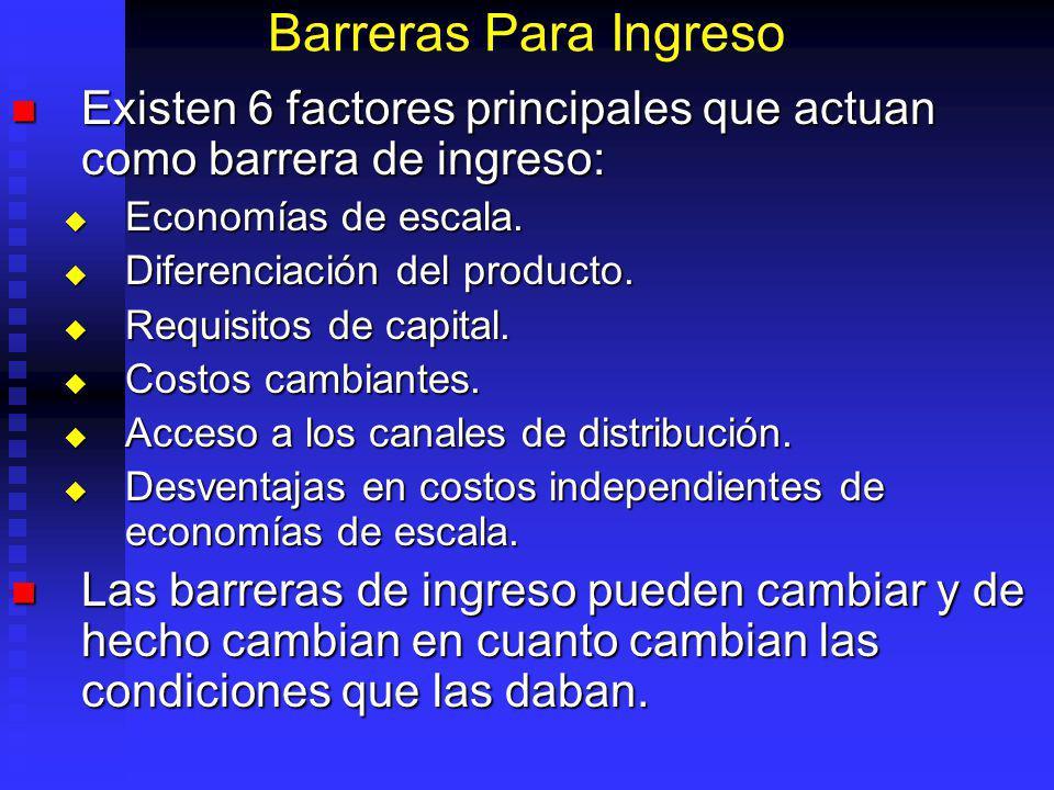 Barreras Para Ingreso Existen 6 factores principales que actuan como barrera de ingreso: Existen 6 factores principales que actuan como barrera de ingreso: Economías de escala.