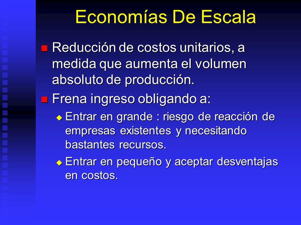 Economías De Escala Reducción de costos unitarios, a medida que aumenta el volumen absoluto de producción.