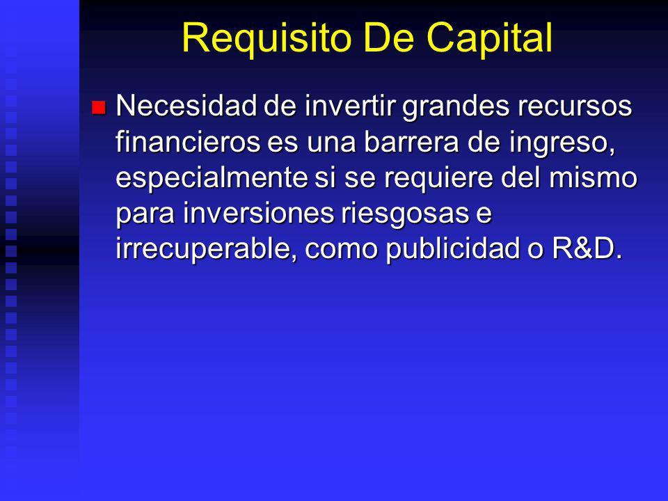 Requisito De Capital Necesidad de invertir grandes recursos financieros es una barrera de ingreso, especialmente si se requiere del mismo para inversiones riesgosas e irrecuperable, como publicidad o R&D.