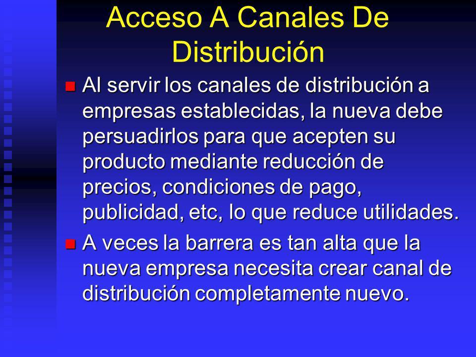 Acceso A Canales De Distribución Al servir los canales de distribución a empresas establecidas, la nueva debe persuadirlos para que acepten su producto mediante reducción de precios, condiciones de pago, publicidad, etc, lo que reduce utilidades.