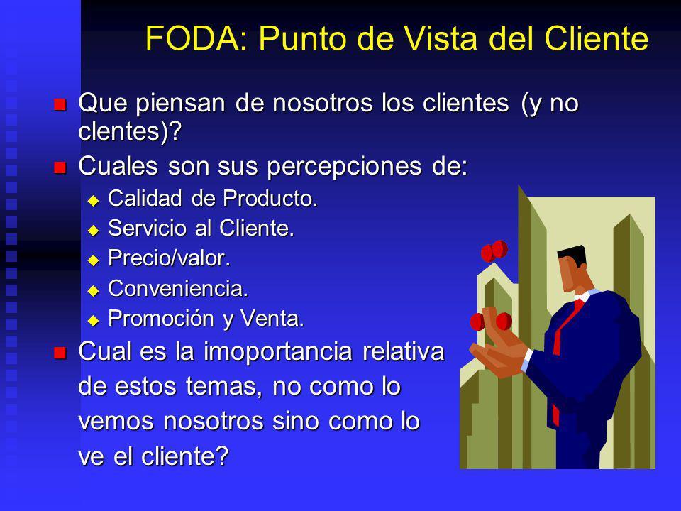 FODA: Punto de Vista del Cliente Que piensan de nosotros los clientes (y no clentes).