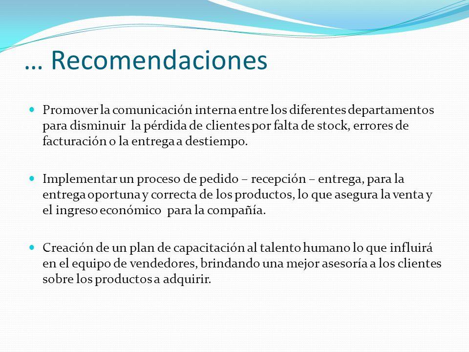 … Recomendaciones Promover la comunicación interna entre los diferentes departamentos para disminuir la pérdida de clientes por falta de stock, errores de facturación o la entrega a destiempo.