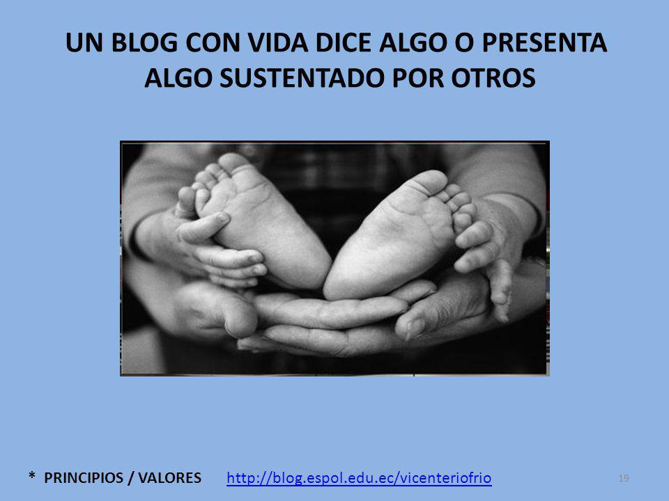 * PRINCIPIOS / VALORES UN BLOG CON VIDA DICE ALGO O PRESENTA ALGO SUSTENTADO POR OTROS http://blog.espol.edu.ec/vicenteriofrio 19
