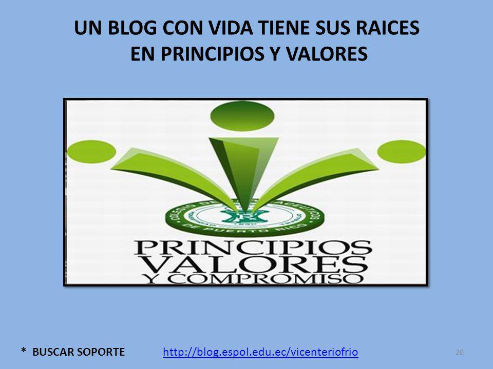 * BUSCAR SOPORTE UN BLOG CON VIDA TIENE SUS RAICES EN PRINCIPIOS Y VALORES http://blog.espol.edu.ec/vicenteriofrio 20