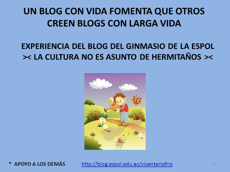 * APOYO A LOS DEMÁS UN BLOG CON VIDA FOMENTA QUE OTROS CREEN BLOGS CON LARGA VIDA EXPERIENCIA DEL BLOG DEL GINMASIO DE LA ESPOL > < http://blog.espol.edu.ec/vicenteriofrio 25