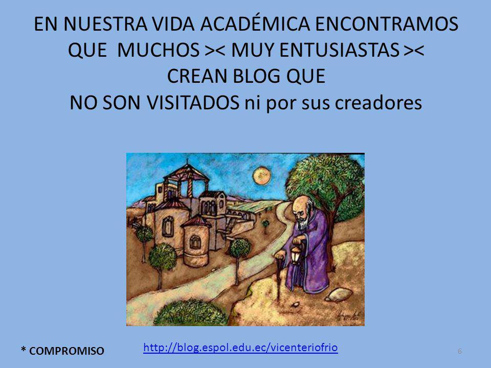 EN NUESTRA VIDA ACADÉMICA ENCONTRAMOS QUE MUCHOS > < CREAN BLOG QUE NO SON VISITADOS ni por sus creadores * COMPROMISO http://blog.espol.edu.ec/vicenteriofrio 6