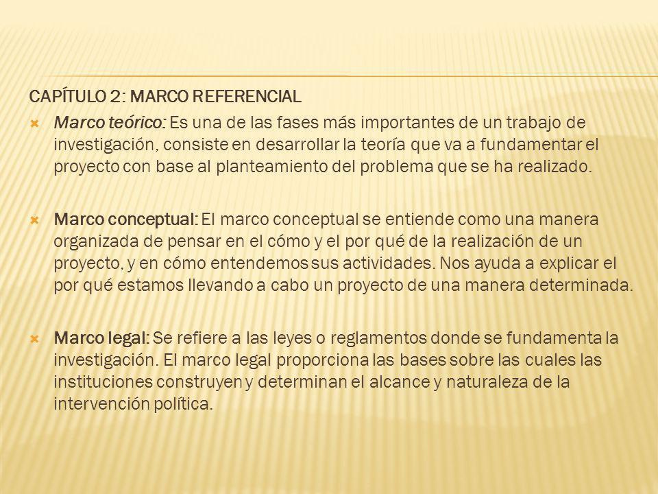 CAPÍTULO 2: MARCO REFERENCIAL Marco teórico: Es una de las fases más importantes de un trabajo de investigación, consiste en desarrollar la teoría que